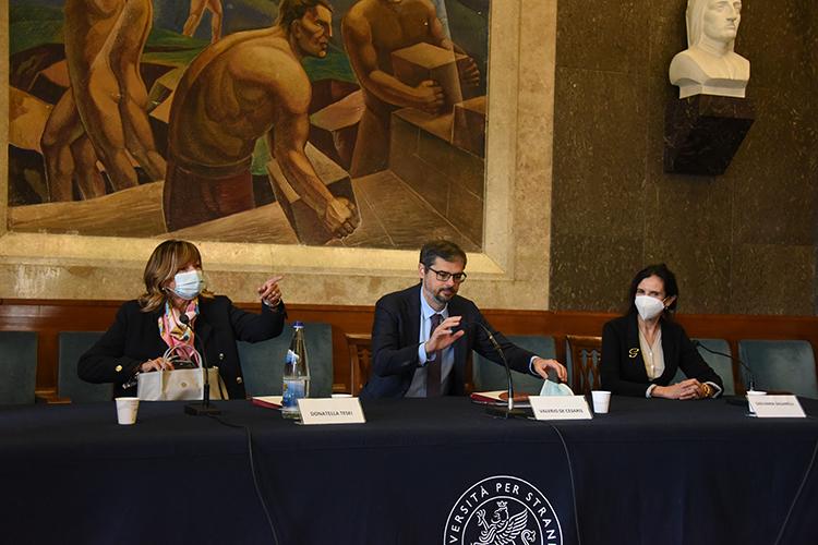 la presidente Tesei, il rettore De Cesaris e la prorettrice Zaganelli