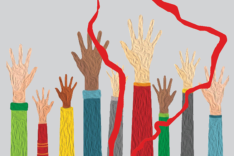 Dettaglio della locandina: mani alzate sullo sfondo del profilo dell'America latina