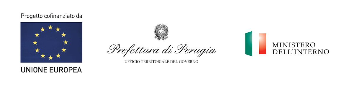 loghi UE, Prefettura Perugia e Ministero dell'Interno
