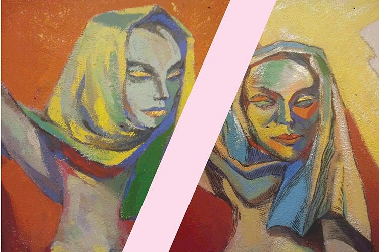 Dettaglio della locandina: raffigurazione di due donne