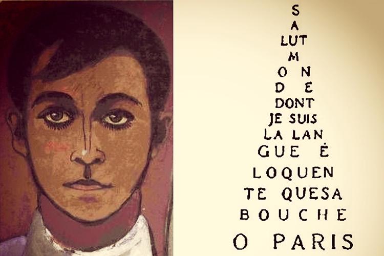 Dettaglio della locandina: autoritratto di Soffici e calligramma di G. Apollinaire