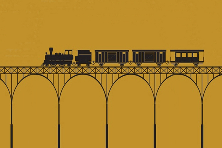 Dettaglio della copertina del libro: treno stilizzato
