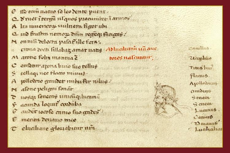 Dettaglio della locandina: Epigrammi di Marziale di mano di Boccaccio (particolare)