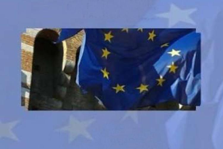 dettaglio della copertina del libro: particolare della bandiera auropea