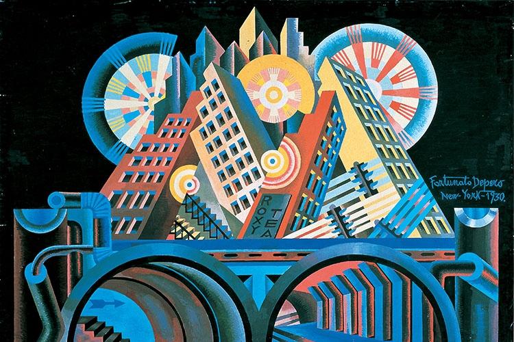 Opera di Fortunato Depero che rappresenta una città