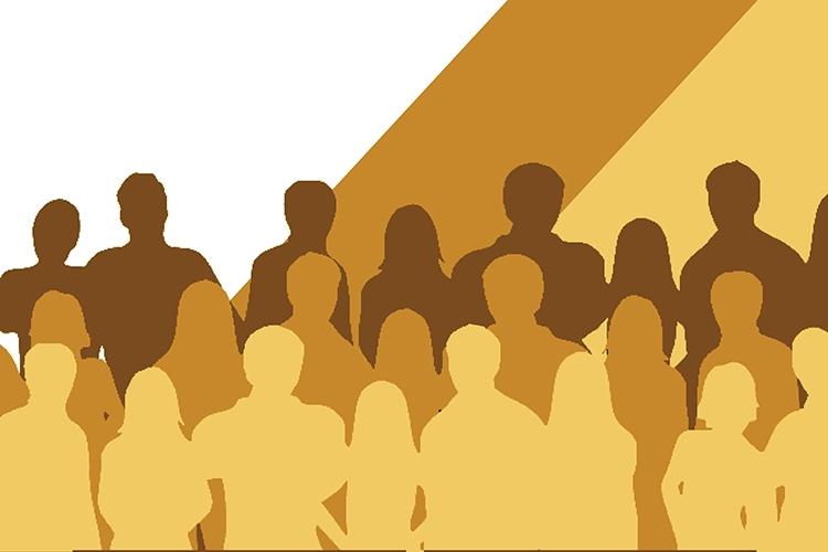 Dettaglio della locandina: profili di persone