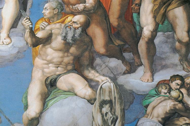 Dettaglio del giudizio universale di Michelangelo