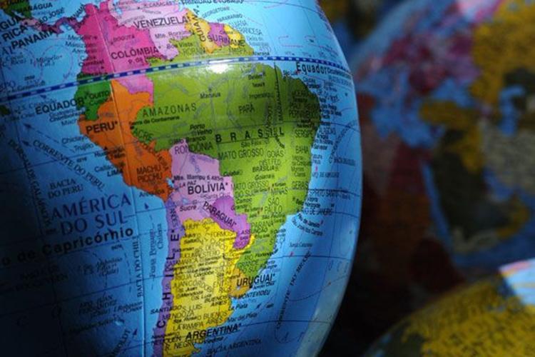 Dettaglio di mappamondo: l'America latina