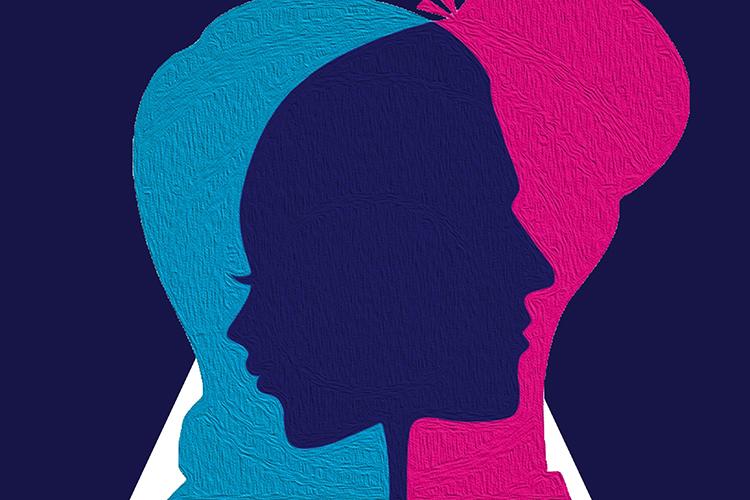 Dettaglio della locandina: volto maschile e volto femminile che si sovrappongono