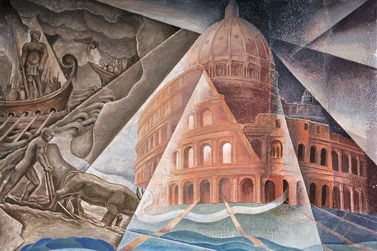 Dettaglio dell'opera di Dottori situata nell'Aula Magna di Palazzo Gallenga