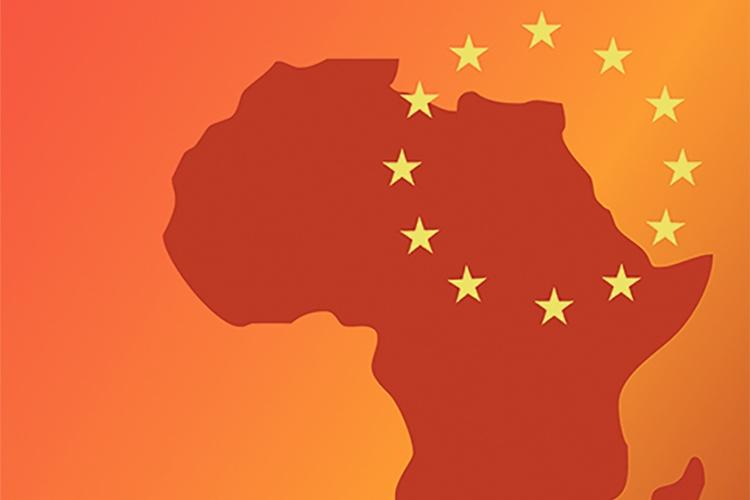 Dettaglio della locandina: particolare della mappa dell'Africa