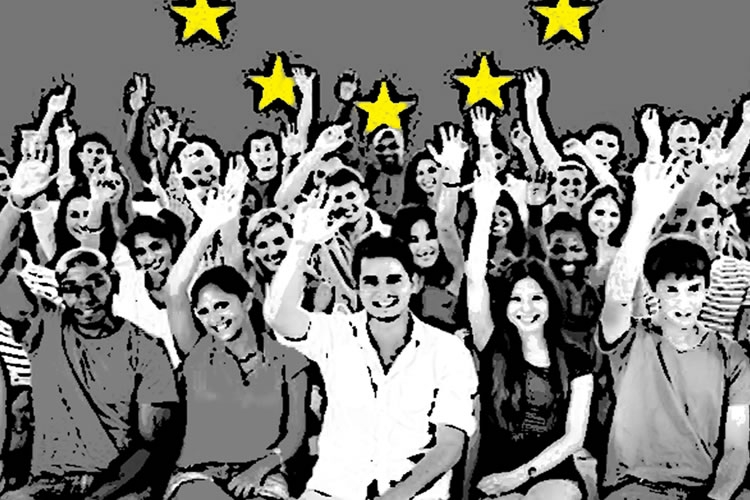 Dettaglio della locandina: giovani e le stelle dell'Europa