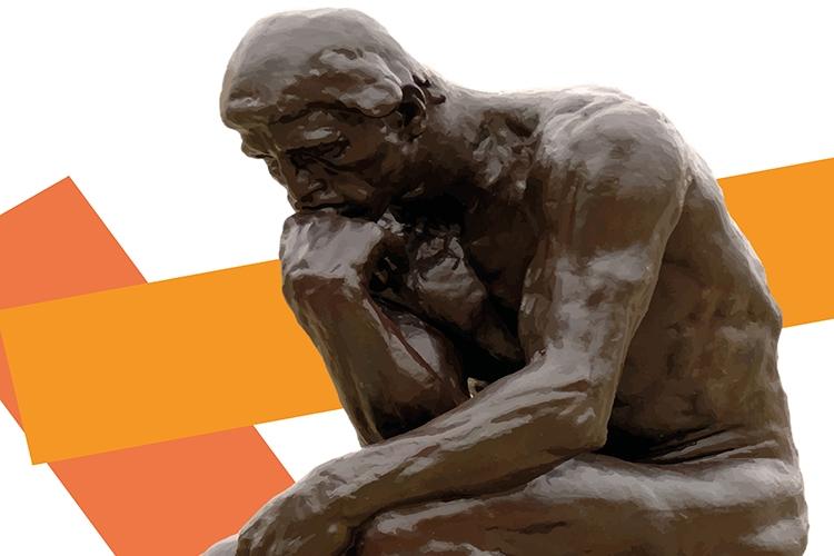 Dettaglio della locandina: statua dell'uomo che pensa