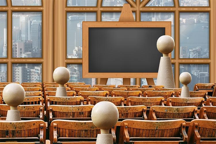 Dettaglio della locandina: raffigurazione di una lezione in classe