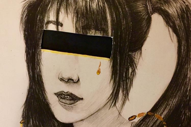 particolare di un'opera dell'artista: volto di ragazza