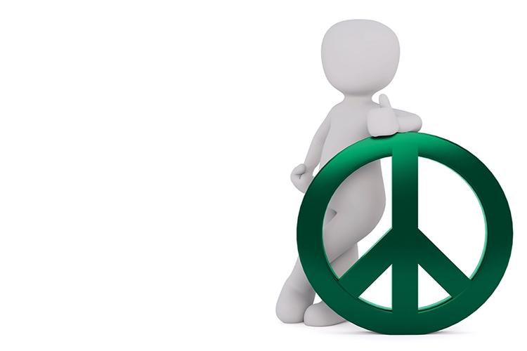 Dettaglio della locandina: il simbolo della pace