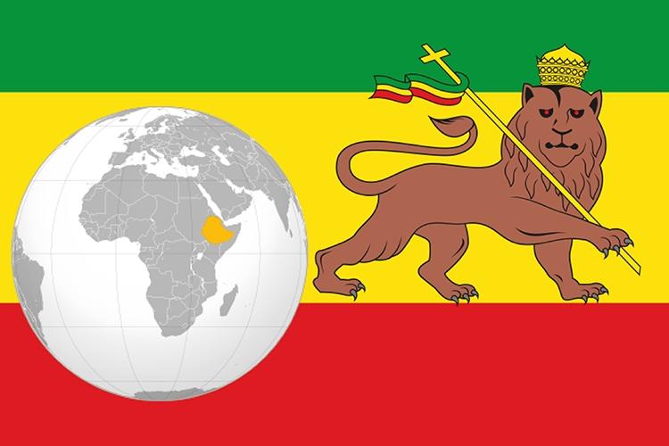 Mappa e bandiera dell'Etiopia