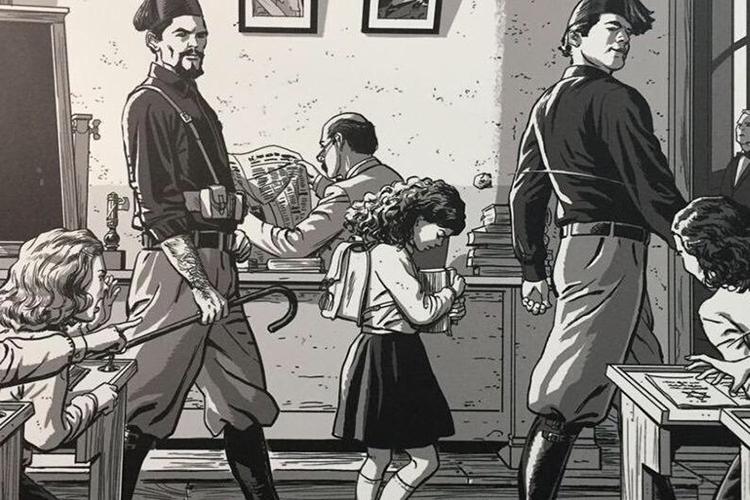 Dettaglio della locandina: illustrazione che rappresenta una bambina cacciata da scuola