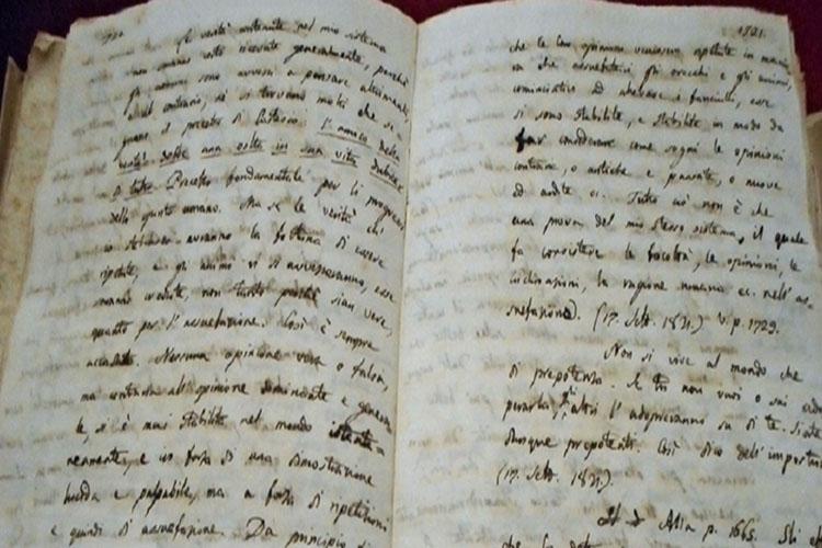 """foto del manoscritto dello """"Zibaldone"""""""