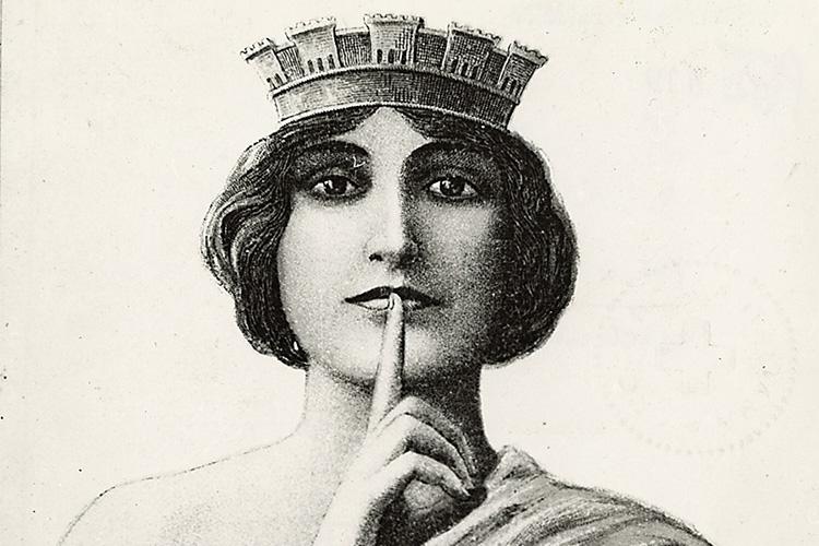 """Dettaglio della locandina: volto di donna con l'indice davanti alla bocca ad indicare """"silenzio!"""""""