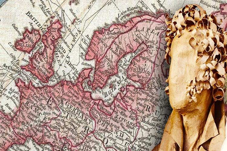 Foscolo con particolare della mappa dell'Europa sullo sfondo