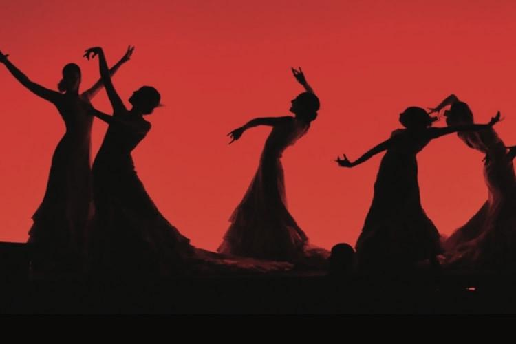 silhouette scure di ballerine su sfondo rosso