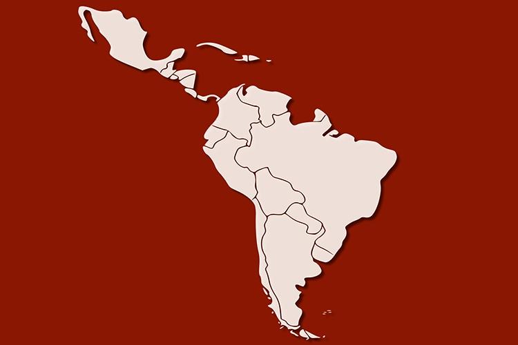 Dettaglio della locandina: mappa dell'America latina