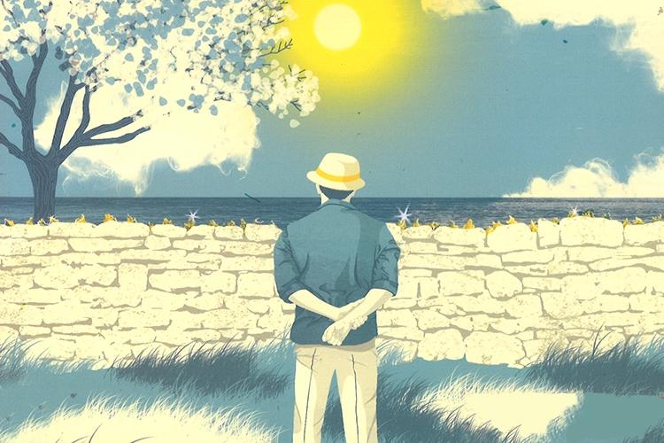 Dettaglio della locandina: uomo di spalle che guarda il mare