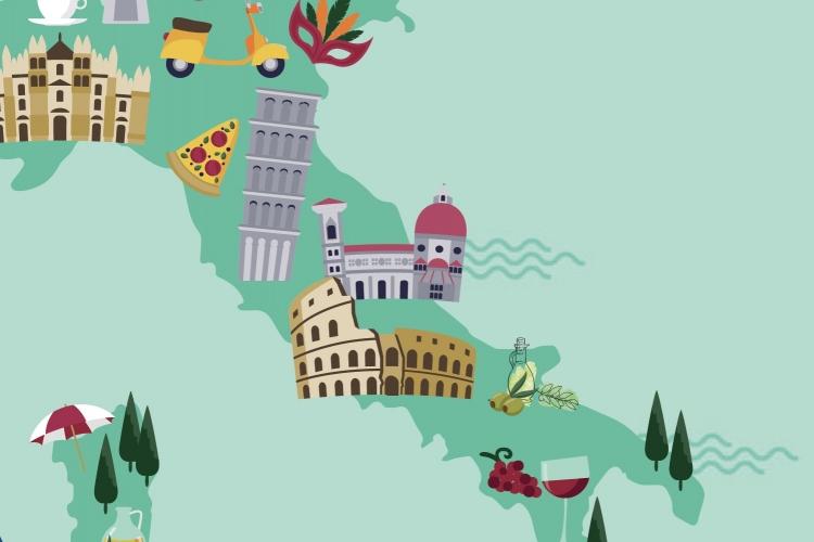 particolare della locandina: mappa d'Italia