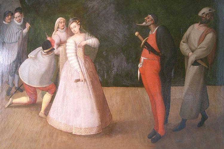 Particolare di un dipinto che raffigura una scena teatrale