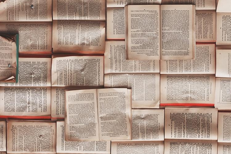 particolare della locandina: libri aperti
