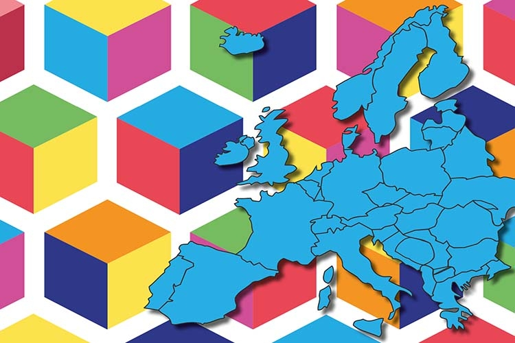 Particolare della locandina: mappa dell'Europa