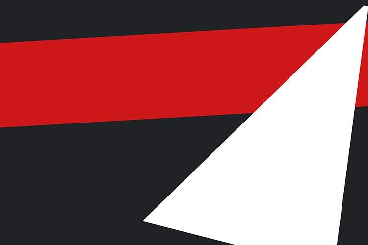 Particolare della locandina: forme geometriche rosse e bianche su sfondo nero