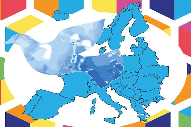 immagine stilizzata di una colomba sullo sfondo dell'Europa
