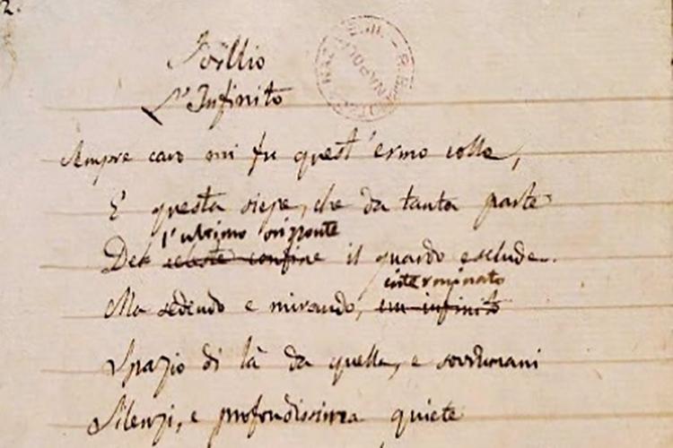 particolare del manoscritto di Leopardi