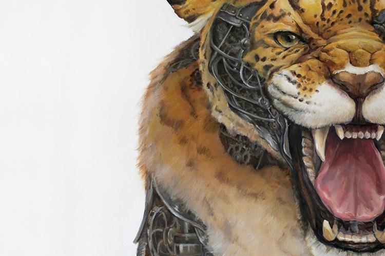 particolare di un'opera dell'artista raffigurante una tigre