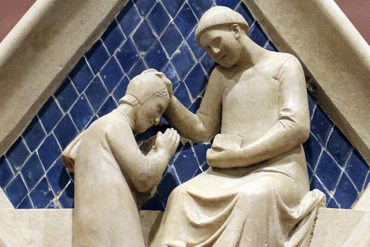Particolare del campanile di Giotto a Firenze raffigurante l'atto della confessione