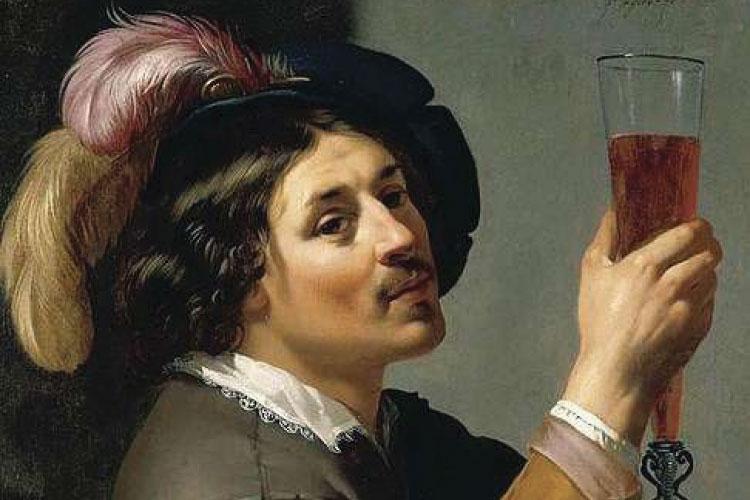 Dipinto rinascimentale di una persona che beve un calice di vino