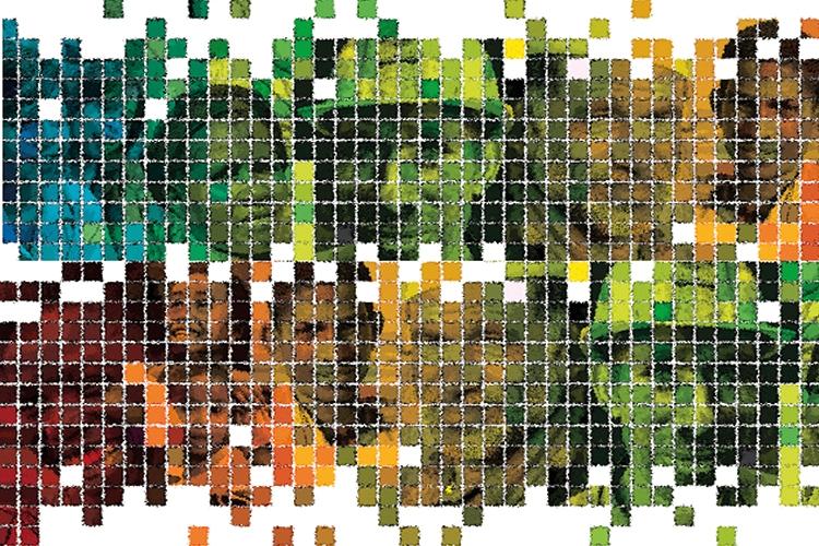 composizione di volti ed elementi grafici