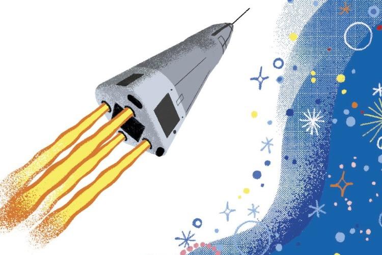 particolare della copertina del libro: razzo che viaggia nello spazio