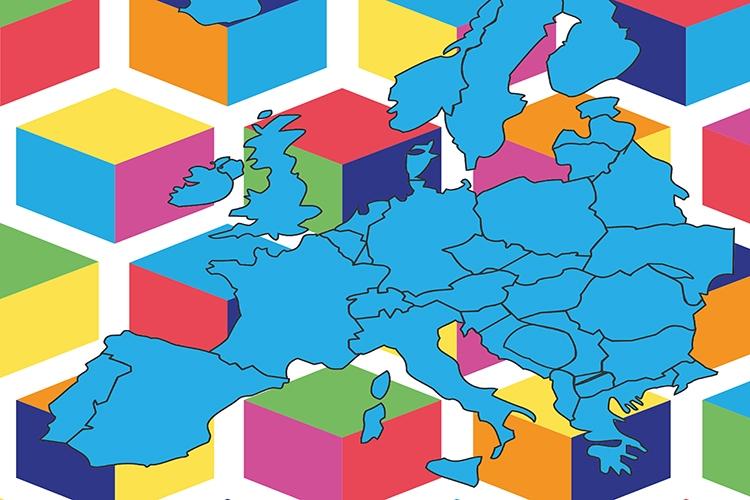 mappa stilizzata dell'Europa