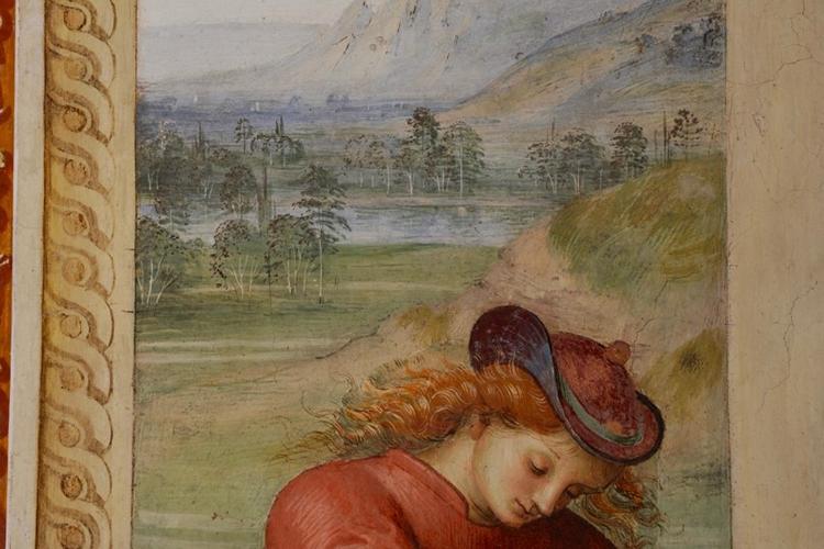 particolare di un dipinto che raffigura un paesaggio umbro