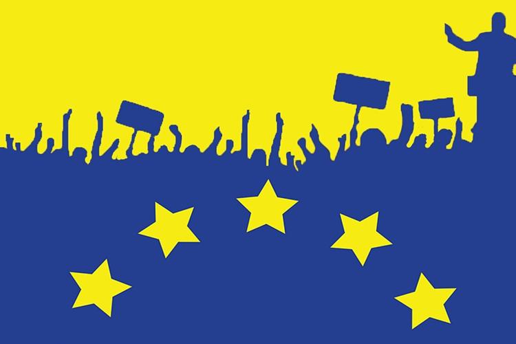 particolare della locandina: profili di persone che manifestano e stelle della bandiera europea