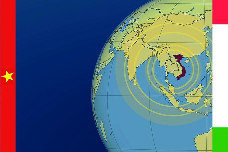 il Vietnam evidenziato all'interno di una mappa