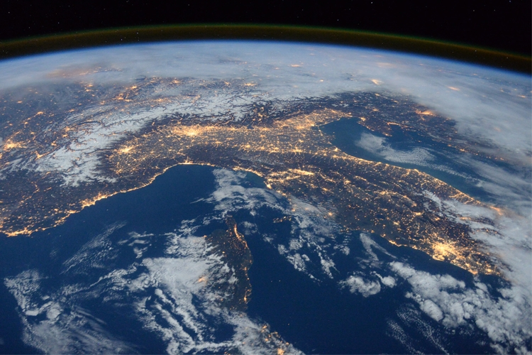 immagine satellitare: dettaglio dell'Italia