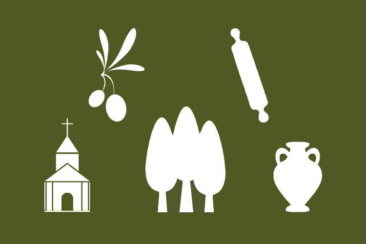 simboli della cultura del territorio: olive, alberi, otre, chiesa, mattarello