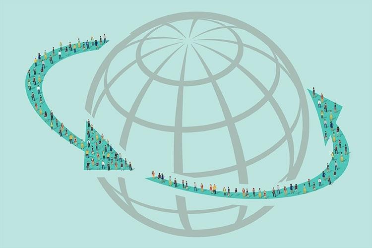persone che camminano intorno al mondo
