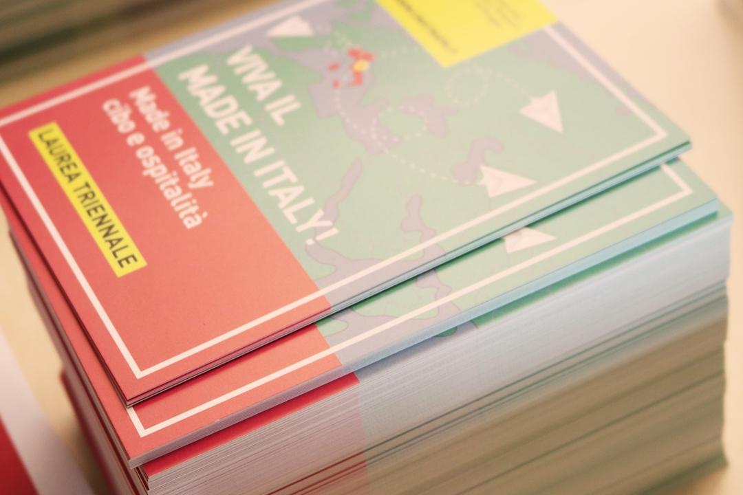 le cartoline informative del corso in Made in Italy, cibo e ospitalità